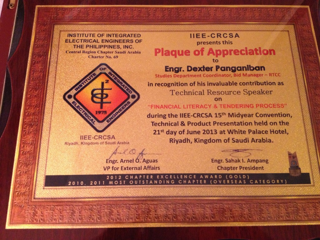 IIEE 2013 Plaque of Appreciation Dexter Panganiban